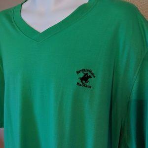 Beverly Hills Polo green v-neck short sleeve shirt